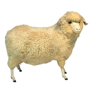 1940s Charismatic Natural Wool Life Size Sheep Statue-ottoman For Sale