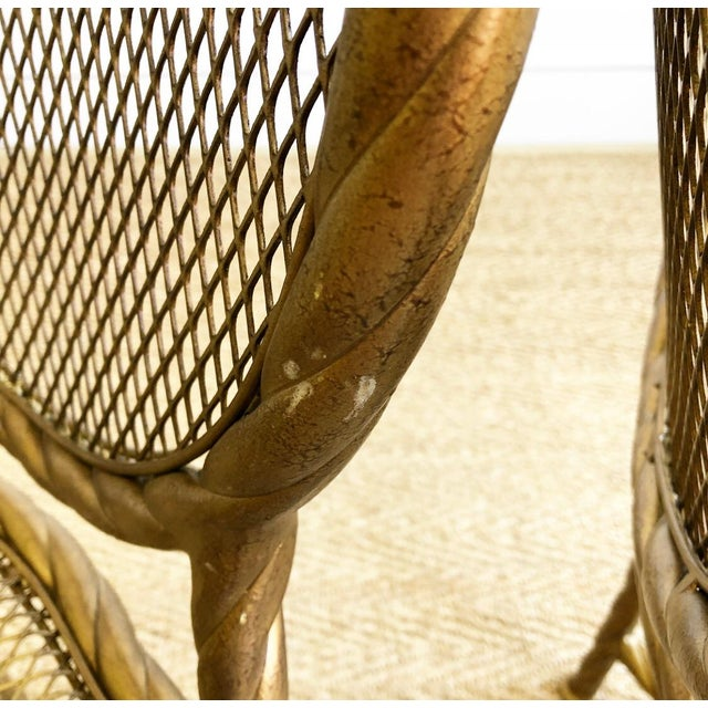 1960s Pair Napoleon III Style Gilt Rope & Tassel Metal Side Chairs For Sale - Image 5 of 10
