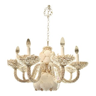 Vintage Contemporary White Shell Chandelier For Sale