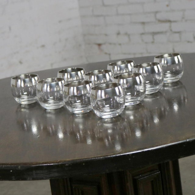 Sterling Silver Rimmed Roly Poly Cocktail Glasses Attributed to Dorothy Thorpe Set 10 For Sale - Image 6 of 13