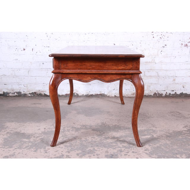 Vintage French Provincial Louis XV Style Oak Writing Desk by Hickory For Sale - Image 10 of 13