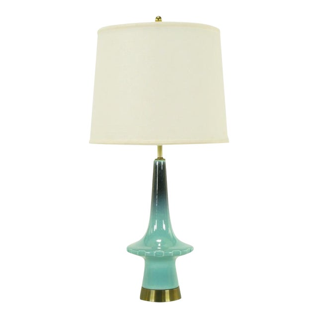 1950s Aqua Midnight Blue Pottery Table Lamp For Sale