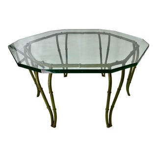 Mid-Century Modern Faux Bamboo CastIron Glass Top Coffee Table For Sale