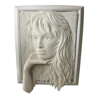 Vintage Bill Mack Large Bonded Sand Relief Sculpture Hand Signed Female For Sale