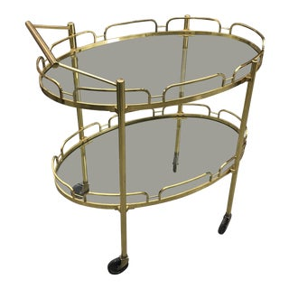 1970s Mid-Century Modern Signed Maxwell Phillips Brass Bar Cart For Sale
