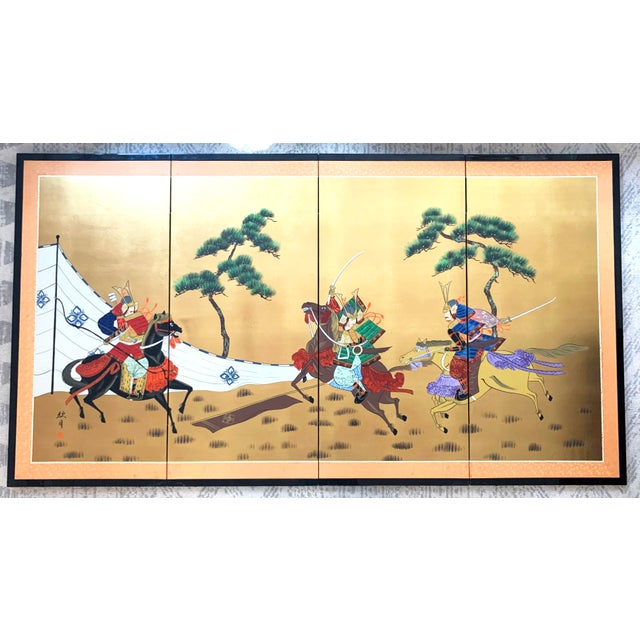 A gorgeous Japanese Byobu (folding screen) depicting three samurai warriors on horseback and surrounded by pines. Signed...