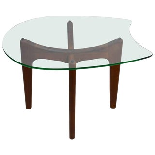 Glass Top End Table by Pearsall For Sale