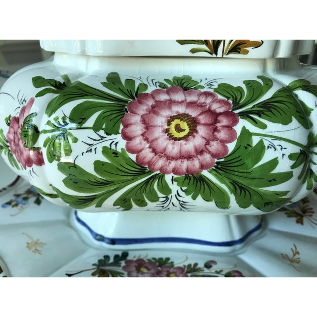 Petite Floral Porcelain Soup Tureen & Tray For Sale - Image 4 of 13