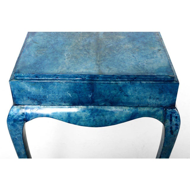 Animal Skin Blue Goatskin Console Table For Sale - Image 7 of 7