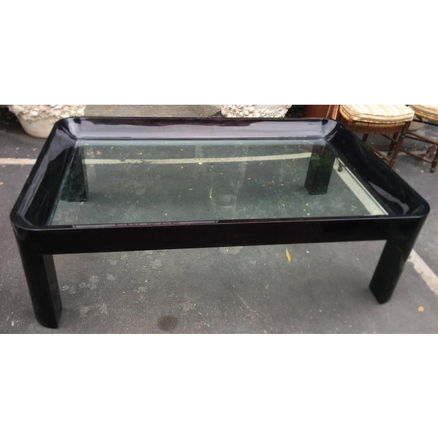 "Vintage 1980's Black Lacquer Rounded Corner Coffee Table. Overall height 20"", glass height 16""."