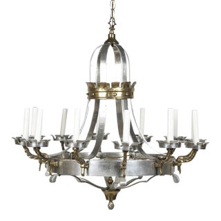 Renaissance Style Brass and Pewter 12 Arm Chandelier For Sale
