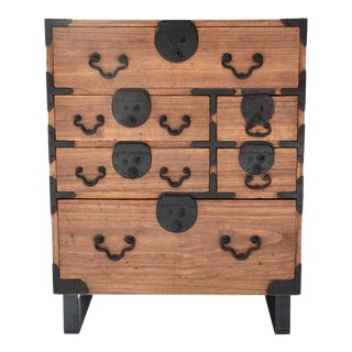 19th Century Japanese Tansu With Hand Forged Hardware For Sale