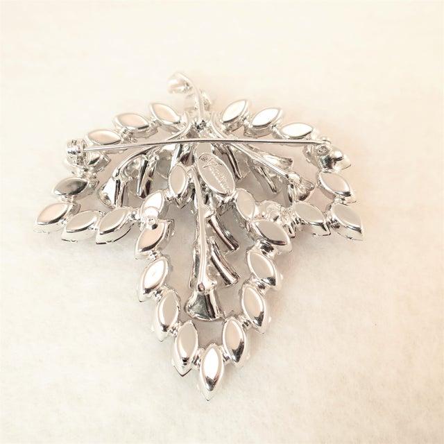 Vendome Ruby Crystal Leaf Brooch 1950s For Sale - Image 9 of 12