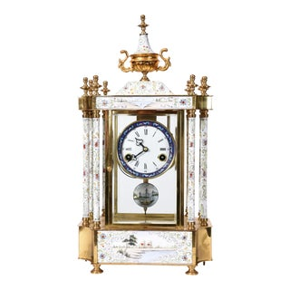 Mid-20th Century Brass Frame Mantel Clock For Sale