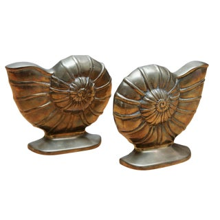 Brass Ammonoidea Bookends, a Pair For Sale