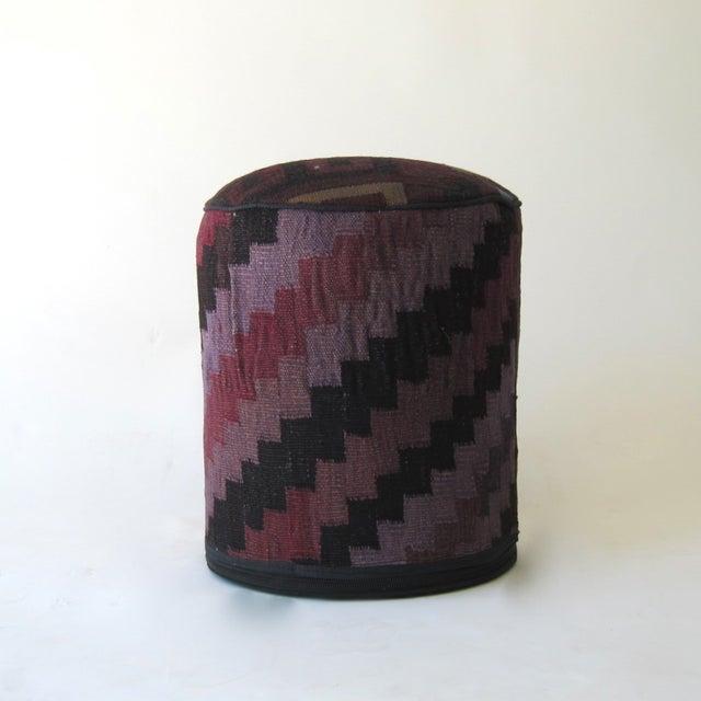 Vintage Purple/Black Turkish Kilim Stool - Image 2 of 3
