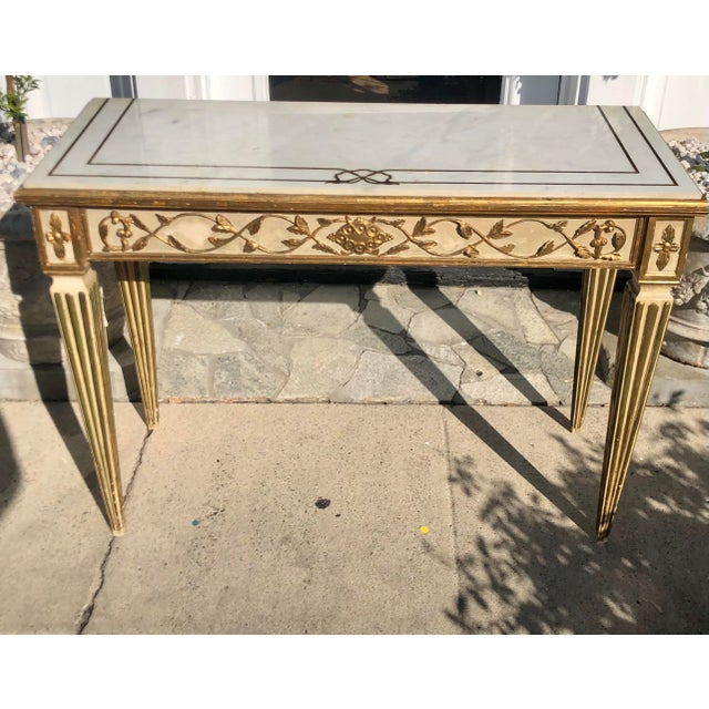 Antique Cannell & Chaffin Louis XVI Inlaid Italian Marble Console Table Hollywood provenance: From the Hancock Park...