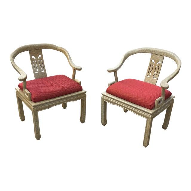 1970s Art Nouveau James Mont Ming Greek Key Wooden Chairs - a Pair For Sale