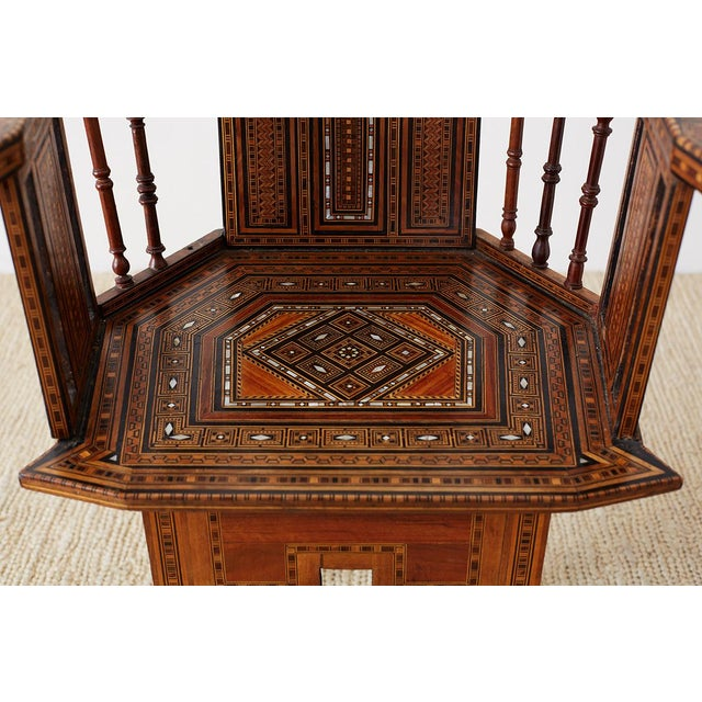 Syrian Armchair With Inlay Moorish Designs For Sale - Image 4 of 13