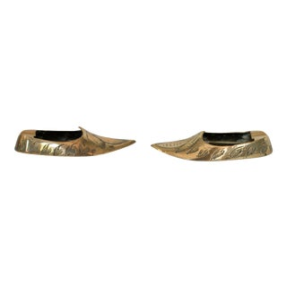 Pair of Brass Shoe Ashtrays