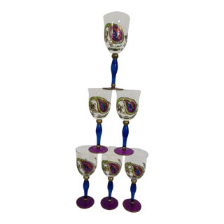 1960's Art Deco Stained Art Crystal Wine Glasses (6)