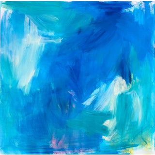 """Blue Tropics"" by Trixie Pitts Abstract Color Field Oil Painting For Sale"