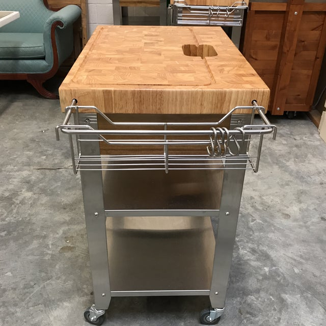 Contemporary Chris & Chris Pro Stadium Kitchen Cart Butcher Block For Sale - Image 3 of 5