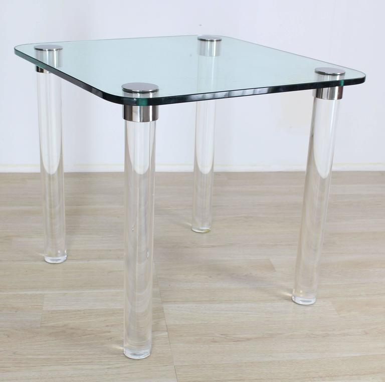Thick Glass Top Lucite Legs Mid Century Modern Square Game Dinette Table    Image 2