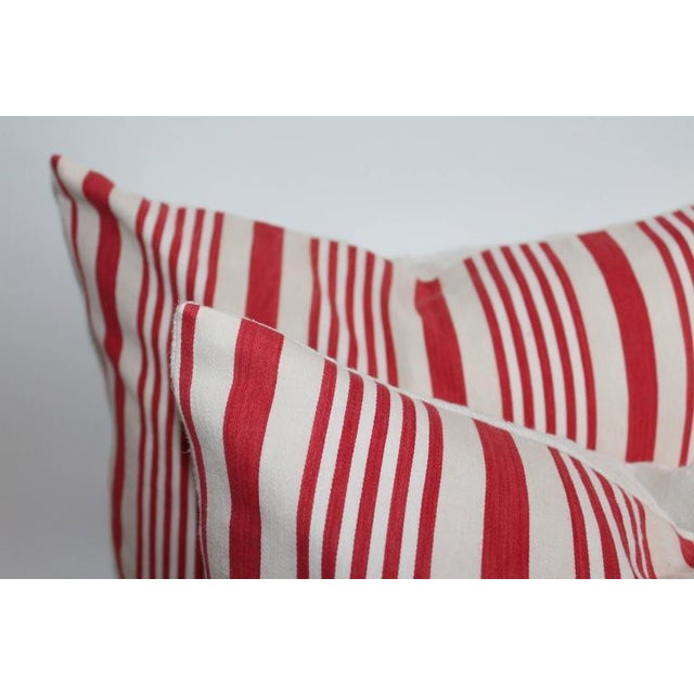 19th Century Red Ticking Pillows, Pair - Image 2 of 8