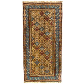 Late 19th Century Antique Pesian Kazak Lambswool Rug - 3′6″ × 7′ For Sale