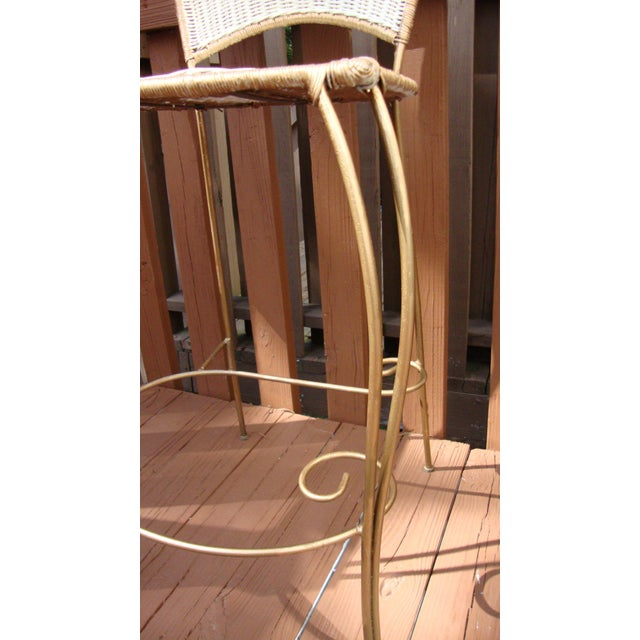 Gilt Wicker Wrought Iron Bar Stools - A Pair - Image 9 of 11
