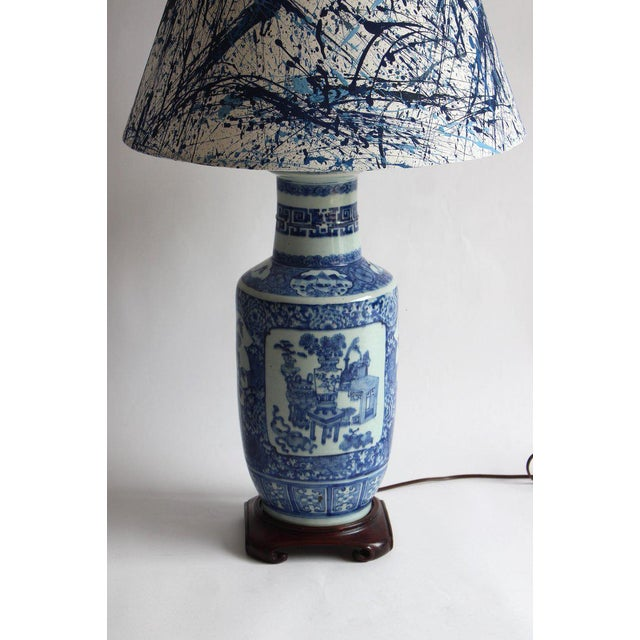 Blue Pair of 19th Century Chinese Blue and White Vase Lamps For Sale - Image 8 of 10