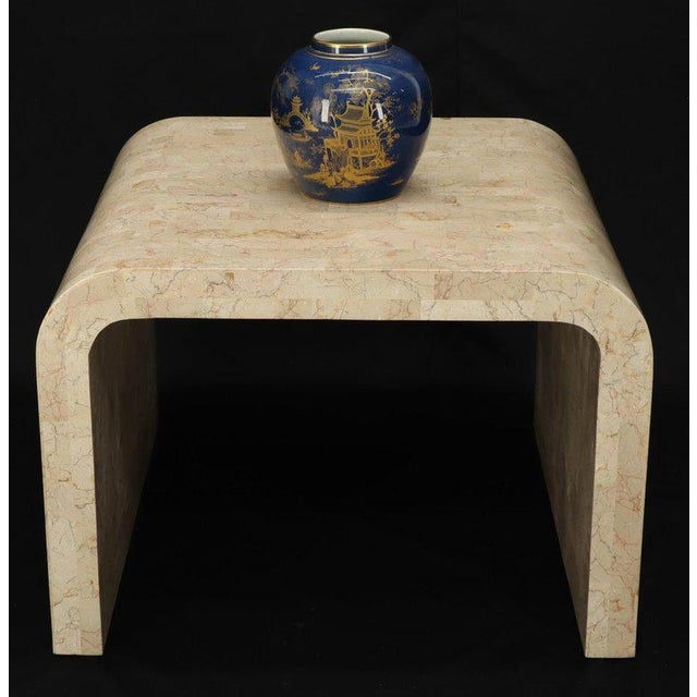 High quality Mid-Century Modern tessellated C-shape square end table. Art to Maitland Smith.