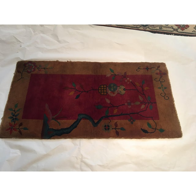 """Asian Gold & Red Vintage Chinese Wool Rug - 2' x 3'10"""" For Sale - Image 3 of 11"""