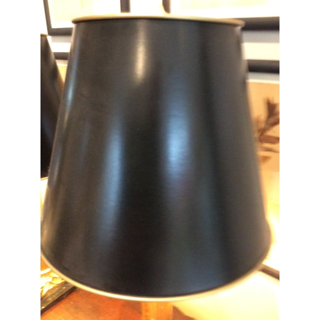 Gilded Column Lamps on Marble Bases With Black, Gold-Lined Shades - a Pair For Sale In Portland, ME - Image 6 of 8