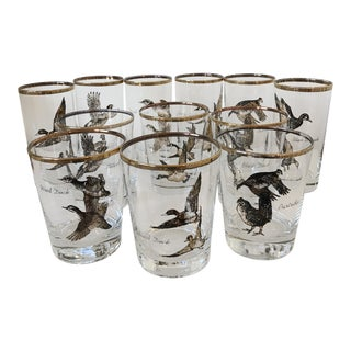 Vintage Black and Gold Wild Game Glasses - Set of 12 For Sale