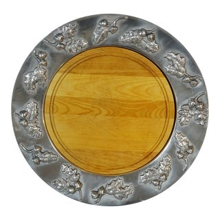 Large Pewter Serving Tray With Wooden Insert by Mariposa For Sale