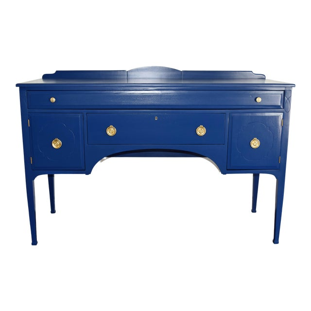 Antique Cherrywood Navy Blue Buffet For Sale