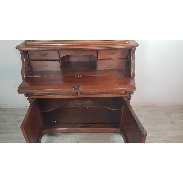 19th Century English Mahogany Wood Bookcase With Secretaire For Sale - Image 10 of 12