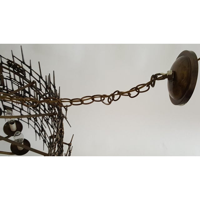Welded Bronze & Nails Metal Chandelier For Sale - Image 11 of 11