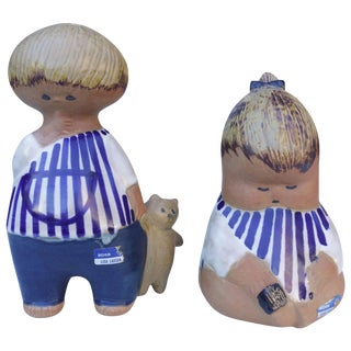 Adorable Mid-Century Ceramic Children by Lisa Larson - a Pair For Sale