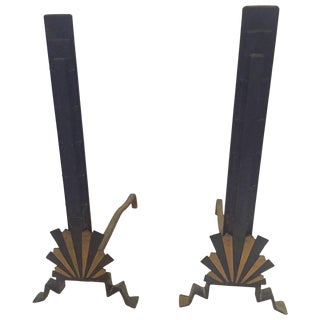 Sensational Rare Art Deco Andirons in Black and Gold For Sale