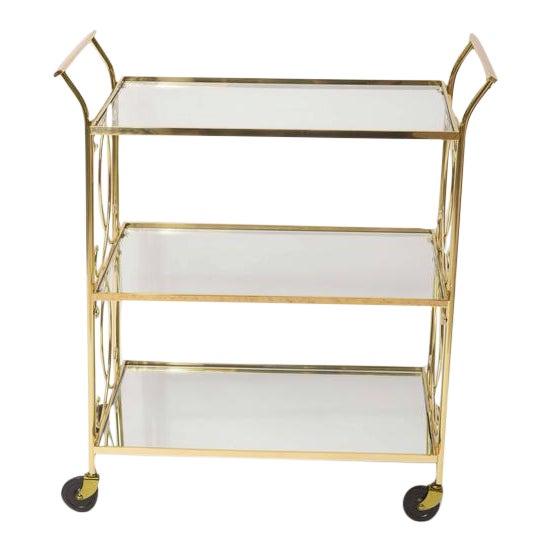 Mid-Century Italian Brass Bar Cart - Image 1 of 10