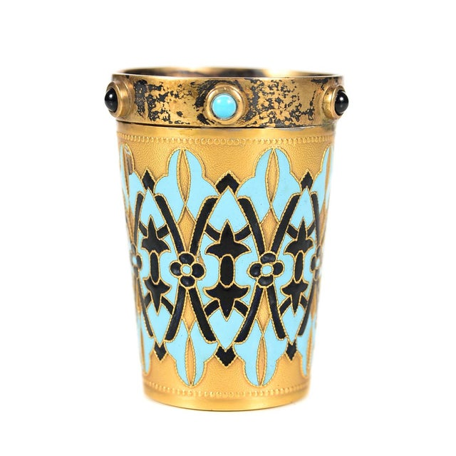 Antique Russian Silver Gilt & Enamel Shot Glasses - a Pair For Sale In Los Angeles - Image 6 of 9