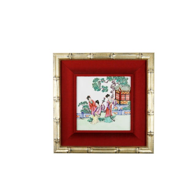 Hand-Painted Geishas on Porcelain Tile For Sale