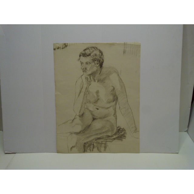 """Mid-Century Modern Original Drawing on Paper, """"Nude in Deep Thought"""" by Tom Sturges Jr For Sale In Pittsburgh - Image 6 of 6"""