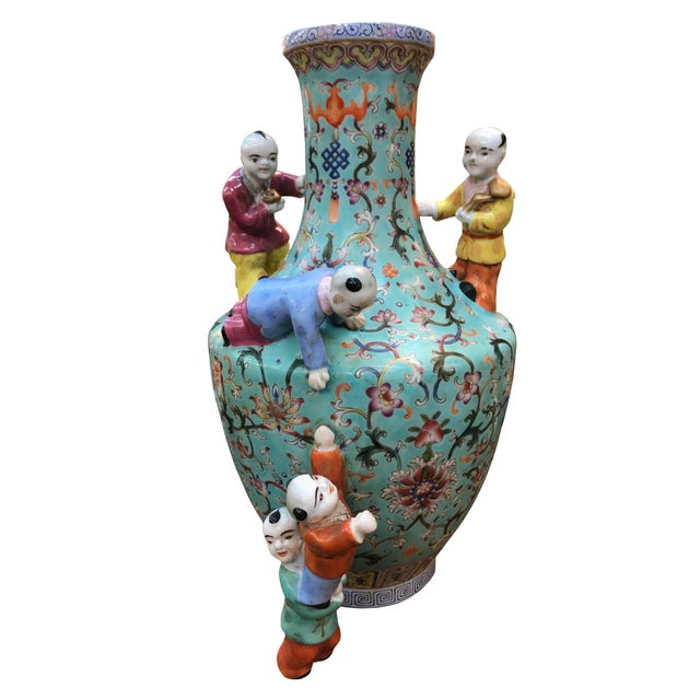 19th Century 19th Century Chinese Five Boys Vase For Sale - Image 5 of 5