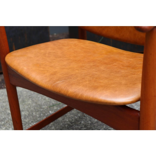 1960s Mid-Century Modern Arne Hovmand Olsen Teak Back Chair For Sale - Image 11 of 13