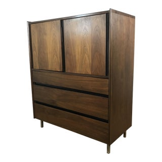 Dillingham Mid-Century Lacquered Walnut Tall Boy Dresser