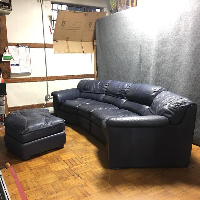 navy blue leather sectional ottoman chairish. Black Bedroom Furniture Sets. Home Design Ideas